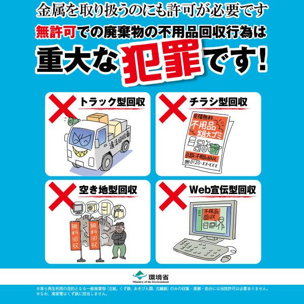 金属,スクラップ,リサイクル,家電,白物家電,不用品,回収,出張,回収,鉄くず,無許可,違法,注意,犯罪